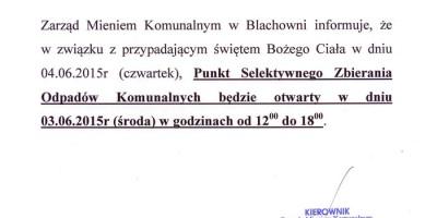 Komunikat ZMK w Blachowni