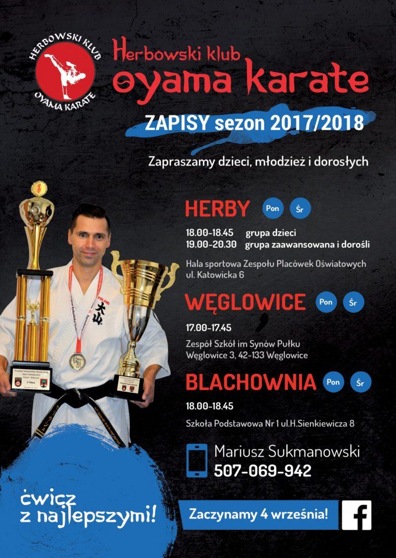 Herbowski Klub Oyama Karate zaprasza na treningi w Blachowni