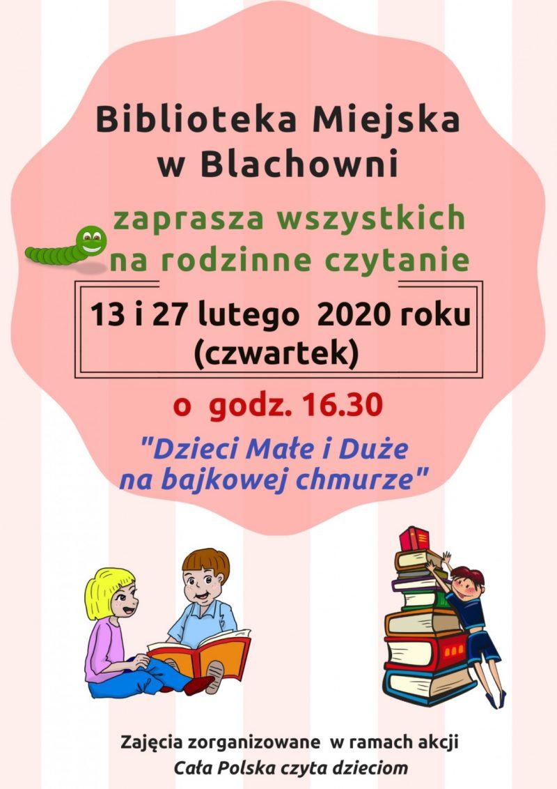 Rodzinne czytanie w bibliotece w Blachowni