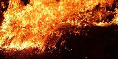 Pożar trawy w Konradowie