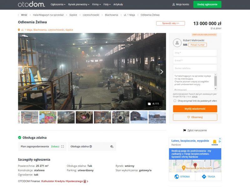 Najstarszy zakład w Blachowni wystawiony na sprzedaż za 13 mln zł